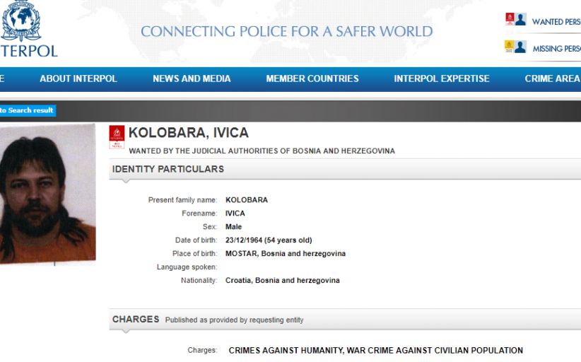 Interpol Issues 'Red Notice' for Bosnian Croat Fighter's Arrest