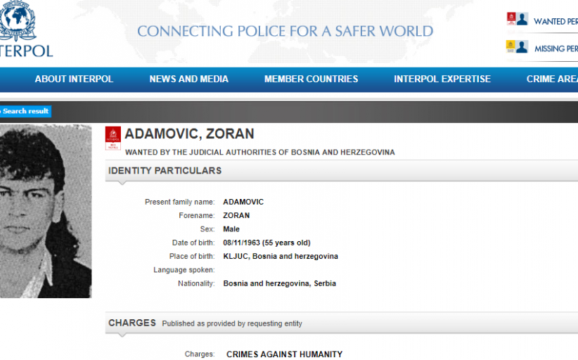 Interpol Issues Red Notice for Bosnian Serb Soldier's Arrest