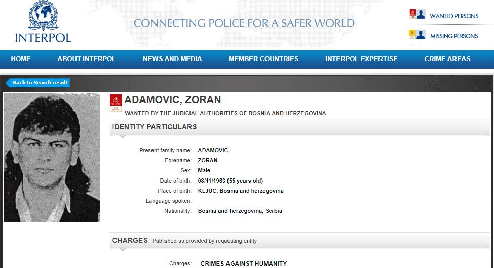 Interpol raspisao potjernicu za Zoranom Adamovićem