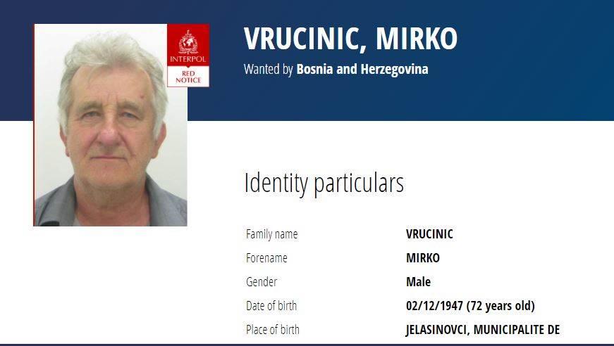 Mirko Vrućinić. Foto: Interpol
